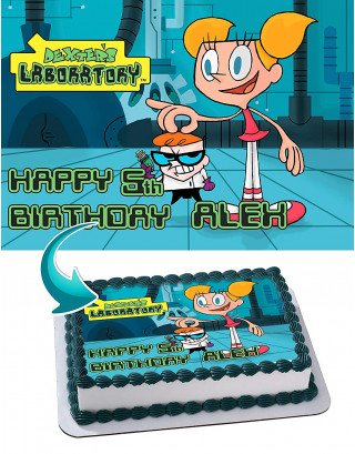 Dexter Laboratory Edible Image Cake Topper Personalized Birthday Sheet Decoration Custom Party Frosting Transfer Fondant