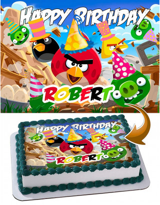 Angry Birds Edible Image Cake Topper Personalized Birthday Sheet Decoration Custom Party Frosting Transfer Fondant