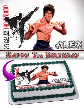 Karate Taekwondo Bruce Lee Edible Image Cake Topper Personalized Birthday Sheet Decoration Custom Party Frosting Transfer Fondant