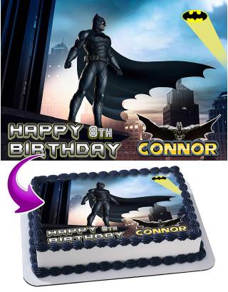 Batman Edible Image Cake Topper Personalized Birthday Sheet Decoration Custom Party Frosting Transfer Fondant