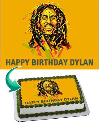 Bob Marley Edible Image Cake Topper Personalized Birthday Sheet Decoration Custom Party Frosting Transfer Fondant