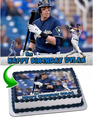 Christian Yelich Edible Image Cake Topper Personalized Birthday Sheet Decoration Custom Party Frosting Transfer Fondant