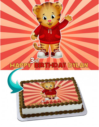 Daniel Tiger Edible Image Cake Topper Personalized Birthday Sheet Decoration Custom Party Frosting Transfer Fondant