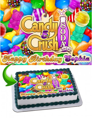 Candy Crush Saga Edible Image Cake Topper Personalized Birthday Sheet Decoration Custom Party Frosting Transfer Fondant