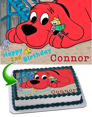 Clifford the Big Red Dog Edible Image Cake Topper Personalized Birthday Sheet Decoration Custom Party Frosting Transfer Fondant