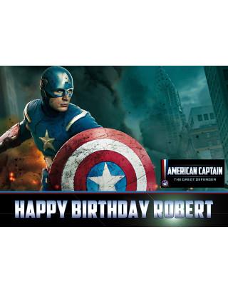 Captain America Marvel Edible Image Cake Topper Personalized Birthday Sheet Decoration Custom Party Frosting Transfer Fondant