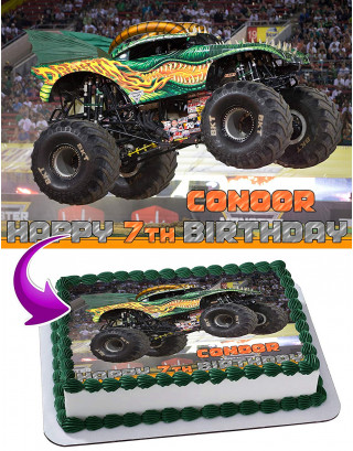 Dragon Monster Jam Edible Image Cake Topper Personalized Birthday Sheet Decoration Custom Party Frosting Transfer Fondant