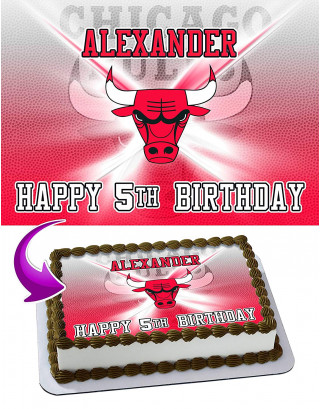 Chicago Bulls NBA Edible Image Cake Topper Personalized Birthday Sheet Decoration Custom Party Frosting Transfer Fondant