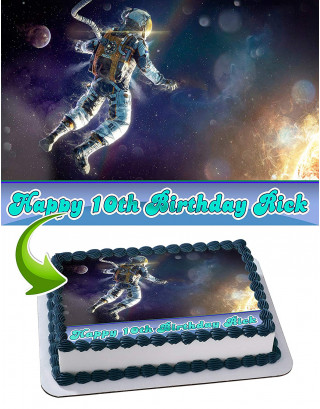 Astronaut Edible Image Cake Topper Personalized Birthday Sheet Decoration Custom Party Frosting Transfer Fondant