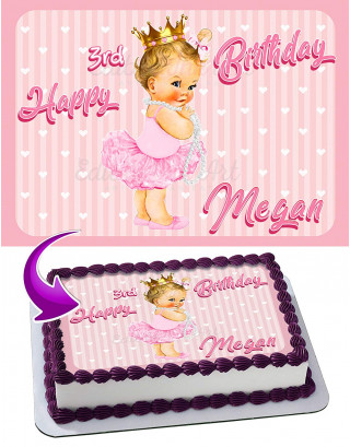Baby Girl Princess Ruffle Pants Edible Image Cake Topper Personalized Birthday Sheet Decoration Custom Party Frosting Transfer Fondant