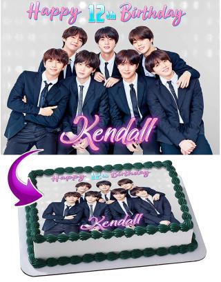 BTS Boy Band, Bangtan Boys  Edible Image Cake Topper Personalized Birthday Sheet Decoration Custom Party Frosting Transfer Fondant