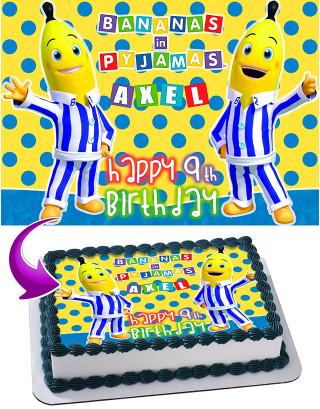 Bananas in Pyjamas Edible Image Cake Topper Personalized Birthday Sheet Decoration Custom Party Frosting Transfer Fondant