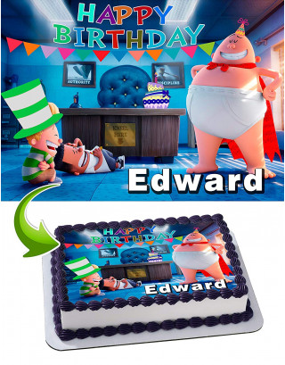 Captain Underpants Edible Image Cake Topper Personalized Birthday Sheet Decoration Custom Party Frosting Transfer Fondant