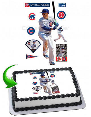 Anthony Rizzo Chicago Cubs Edible Image Cake Topper Personalized Birthday Sheet Decoration Custom Party Frosting Transfer Fondant