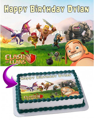 Clash of Clans Edible Image Cake Topper Personalized Birthday Sheet Decoration Custom Party Frosting Transfer Fondant