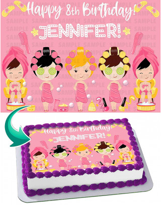 Spa Day Edible Image Cake Topper Personalized Birthday Sheet Decoration Custom Party Frosting Transfer Fondant