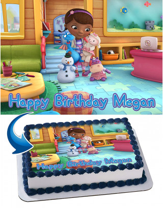 Doc McStuffins Edible Image Cake Topper Personalized Birthday Sheet Decoration Custom Party Frosting Transfer Fondant