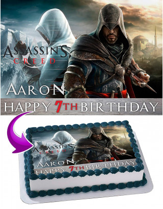 Assassin's Creed Edible Image Cake Topper Personalized Birthday Sheet Decoration Custom Party Frosting Transfer Fondant