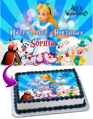 Alice in Wonderland Edible Image Cake Topper Personalized Birthday Sheet Decoration Custom Party Frosting Transfer Fondant