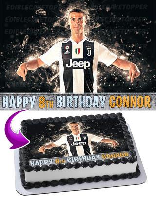 Cristiano Ronaldo CR7 Juventus Edible Image Cake Topper Personalized Birthday Sheet Decoration Custom Party Frosting Transfer Fondant