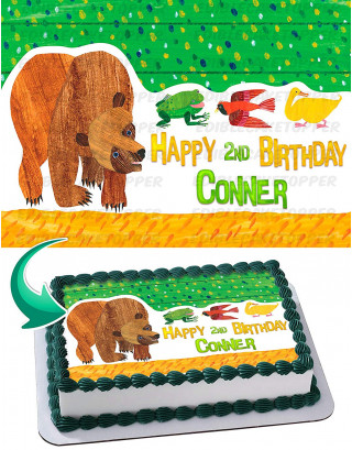 Brown Bear Edible Image Cake Topper Personalized Birthday Sheet Decoration Custom Party Frosting Transfer Fondant