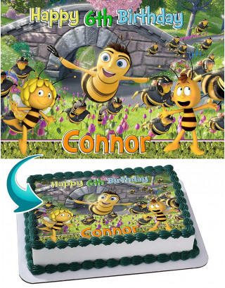 Bee Movie, Maya the Bee Edible Image Cake Topper Personalized Birthday Sheet Decoration Custom Party Frosting Transfer Fondant