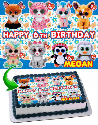 Beanie Boos Edible Image Cake Topper Personalized Birthday Sheet Decoration Custom Party Frosting Transfer Fondant