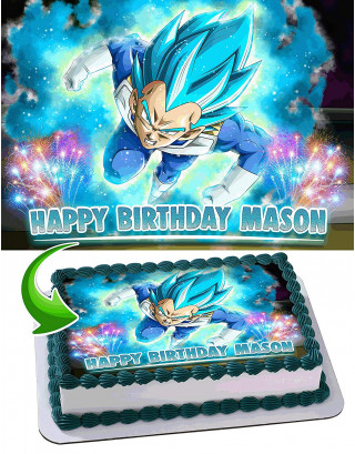 Dragon Ball Super, Vegeta, Anime, Dragon ball Z, Super Saiyan Edible Image Cake Topper Personalized Birthday Sheet Decoration Custom Party Frosting Transfer Fondant