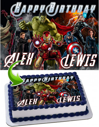 Anvengers Hulk, Iron Man, Thor, Captain America Edible Image Cake Topper Personalized Birthday Sheet Decoration Custom Party Frosting Transfer Fondant
