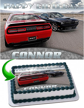 Dodge Challenger Edible Image Cake Topper Personalized Birthday Sheet Decoration Custom Party Frosting Transfer Fondant