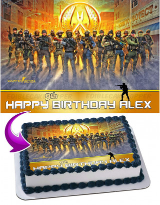 Counter-Strike Edible Image Cake Topper Personalized Birthday Sheet Decoration Custom Party Frosting Transfer Fondant