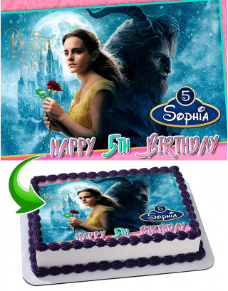 Beauty and the Beast Edible Image Cake Topper Personalized Birthday Sheet Decoration Custom Party Frosting Transfer Fondant