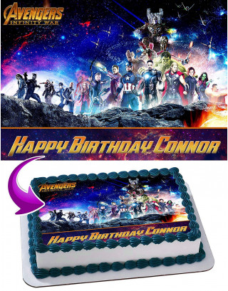 Avenger Infinity War Edible Image Cake Topper Personalized Birthday Sheet Decoration Custom Party Frosting Transfer Fondant