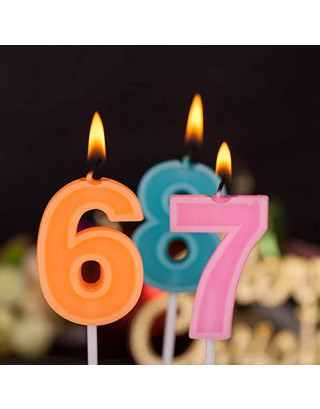 Happy Birthday Numbers Candles Cake Topper Decoration for Adults/Kids Party