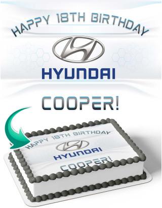 Hyundai Edible Image Cake Topper Personalized Birthday Sheet Decoration Custom Party Frosting Transfer Fondant