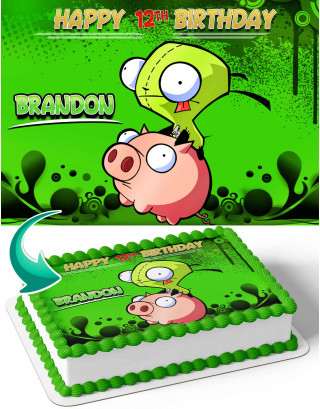 Invader Zim Edible Image Cake Topper Personalized Birthday Sheet Decoration Custom Party Frosting Transfer Fondant