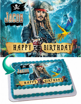Pirates of the Caribbean Jack Sparrow Edible Image Cake Topper Personalized Birthday Sheet Decoration Custom Party Frosting Transfer Fondant