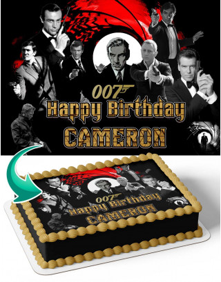 James Bond Edible Image Cake Topper Personalized Birthday Sheet Decoration Custom Party Frosting Transfer Fondant