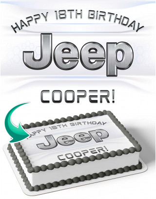 Jeep Edible Image Cake Topper Personalized Birthday Sheet Decoration Custom Party Frosting Transfer Fondant