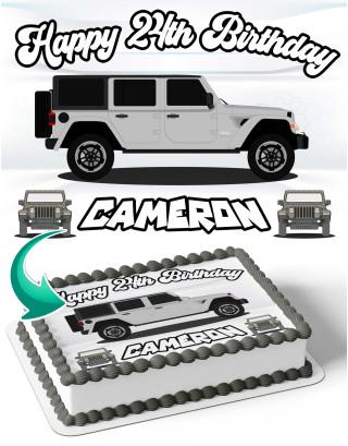Jeep Wrangler JL Edible Image Cake Topper Personalized Birthday Sheet Decoration Custom Party Frosting Transfer Fondant