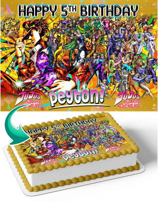 Jojos Bizarre Adventure Edible Image Cake Topper Personalized Birthday Sheet Decoration Custom Party Frosting Transfer Fondant