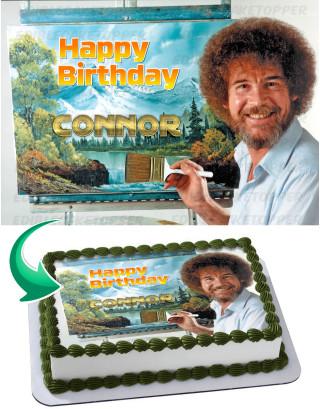 Bob Ross Edible Image Cake Topper Personalized Birthday Sheet Decoration Custom Party Frosting Transfer Fondant