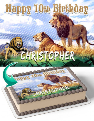 Lion King LK Edible Image Cake Topper Personalized Birthday Sheet Decoration Custom Party Frosting Transfer Fondant