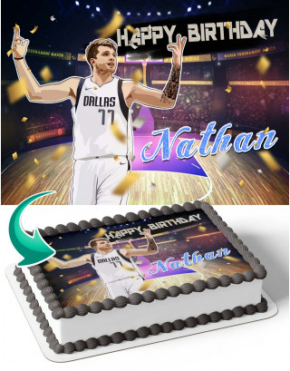 Luka Doncic Edible Image Cake Topper Personalized Birthday Sheet Decoration Custom Party Frosting Transfer Fondant