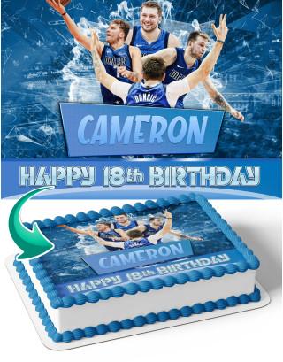 Luka Doncic Maverics Dallas Edible Image Cake Topper Personalized Birthday Sheet Decoration Custom Party Frosting Transfer Fondant