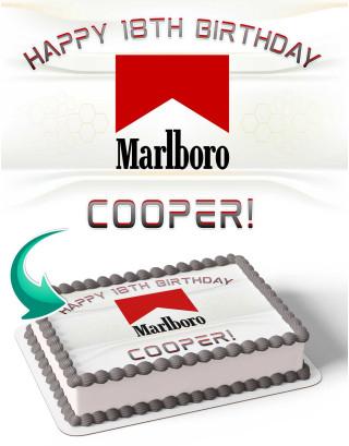 Marlboro Edible Image Cake Topper Personalized Birthday Sheet Decoration Custom Party Frosting Transfer Fondant