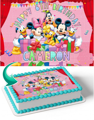 Micky Mouse Disney Birthday Edible Image Cake Topper Personalized Birthday Sheet Decoration Custom Party Frosting Transfer Fondant