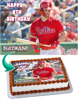 Bryce Harper Philadelphia Phillies Edible Image Cake Topper Personalized Birthday Sheet Decoration Custom Party Frosting Transfer Fondant
