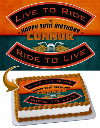 Ride To Live, Live To Ride Harley Davidson Edible Cake Image Topper Personalized Birthday Sheet Decoration Custom Party Frosting Transfer Fondant