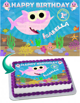 Baby Shark Girl Cake Topper Personalized Birthday Sheet Decoration Custom Party Frosting Transfer Fondant